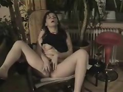 Hairy vagina takes fingers and toys