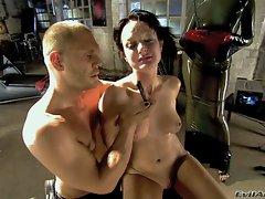 Slave brunette Melissa Lauren with juicy natural tits gets dominated