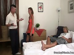 Old couple lure him into threesome