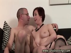 Nasty mature british bitch in stockings