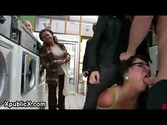 Rope brunette girl fucked in laundromat infront of strangers