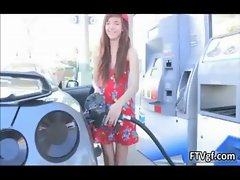 Horny teen girl loves pumping gas