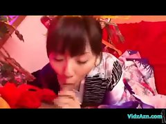Asian Girl In Kimono Giving Blowjob For Guy Cum To Mouth On The Mattress In The Room
