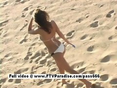 Pleasant Stunning woman posing naked on the beach
