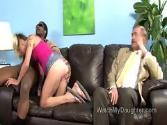 Teen daughter is being taught how to suck a big black cock
