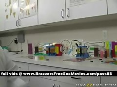 Young brunette slut in a chemistry lab