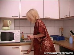 Blonde babe gets attacked in the kitchen