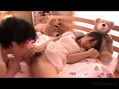 Cute Asian Girl Sucking Cock In 69 Giving Handjob Cum To Hand On The Bed In The Girls Room