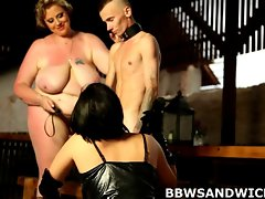 Obese triple ramming with facesitting and spanking