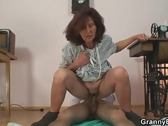 Sewing granny jumps on his pecker