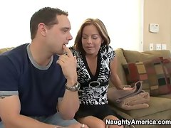 filthy bitch Kora Cummings ride sons friend on the couch