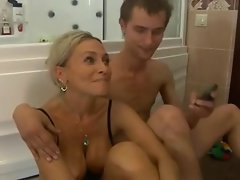 Perfect aged females and young man in shower