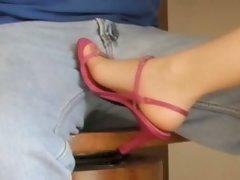 Rosy heels, size 6 nylon feet on crotch