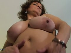Chesty filthy mom playing with her toys