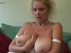 Buxom English slutty mom exposes excellent rack and