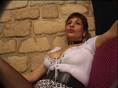 FRENCH Experienced n26 dark haired bum mama gangbang in club