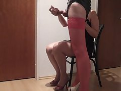 handjob in pinkish nylons