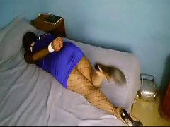 Karina tied in bed