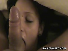 Seductive amateur fuck partner licks and screws with cumshot