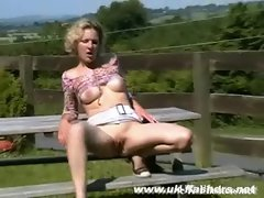 Luscious light-haired mums public masturbation and outdoor flashing