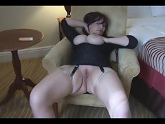 Glossy stockings shaven filthy bitch