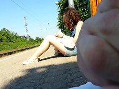 Seductive teen Babe at the station