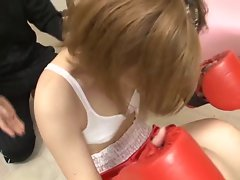 Blondie Sensual japanese boxer gets cum up her nose!