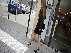 Raunchy cumlover Secretary walking in high heels in public