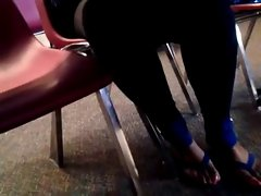 Slutty ebony lady with long toenails in sandals part 2