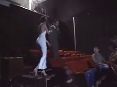 Luscious Couple putting on a show in a Adult Cinema