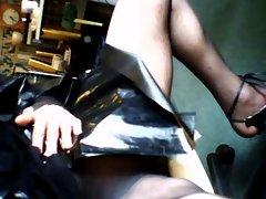 04) Crossdresser in Plastic Mac and Tights