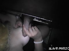 Natural amateur sex slave at the gloryhole