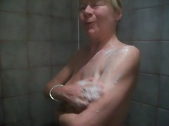 slutty wife taking a shower