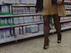 Gold mini dress gold heels snd black tights