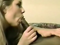Filthy blond plays with BBC while hubby films - experienced but good!