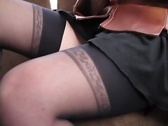 flashing stockings in the bus