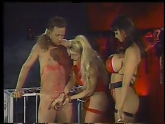 2 smoking filthy mistresses in play with a slave dude