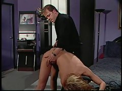 Chap give whore beating on her butt