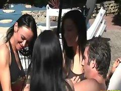 Perverted clothed ladies making man spunk