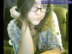 DTFVideos.com Teen Porn Live Masturbation On Webcam With Glasses
