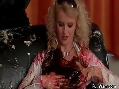 Sexy blonde Euro babe gets a cake