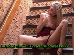 Kali tender hot naked blonde babe on the stairs
