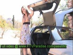 Sasha tender splendid brunette babe near a car