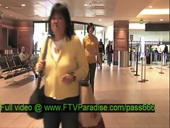Zeba gorgeous brunette babe in the airport