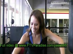 Denise teen blonde babe exercises at the gym