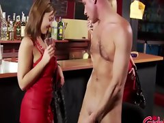 Babes insert boys ass with burning candle
