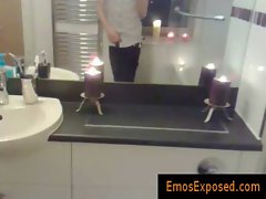 Emo redhead jerking his penis in the mirror gay video
