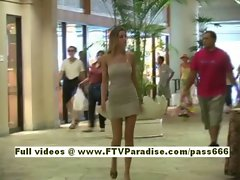 Carli teenage blonde babe walking through shopping mall