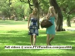 Yana and Sandy two cute blonde babes go on a picnic