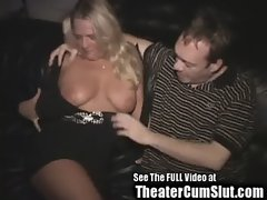 Blonde Birthday Slut&#039_s Public Porn Theater Sex Celebration